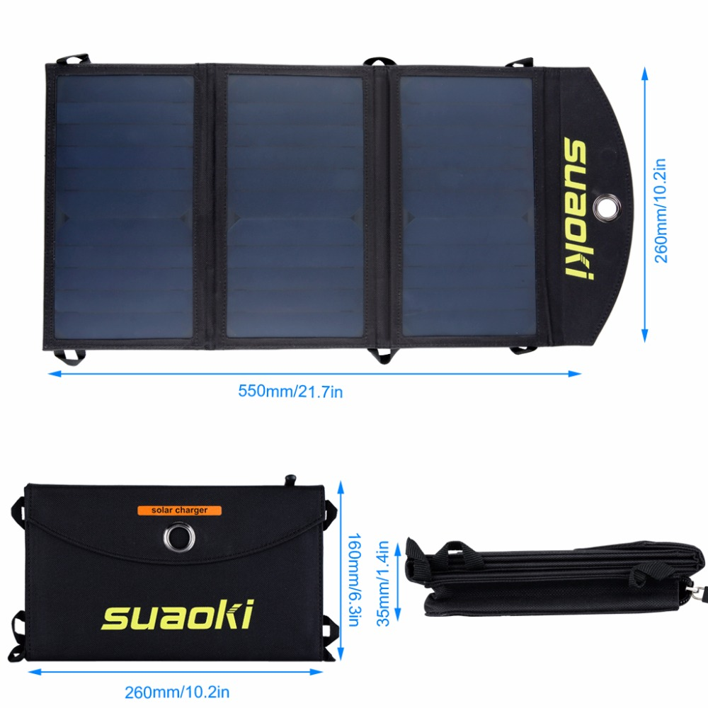 Image 2 - Suaoki 20W Solar Panel Charger High efficiency Portable Solar Battery Dual USB Output Easycarry Foldable Solar Cells Outdoors-in Solar Cells from Consumer Electronics