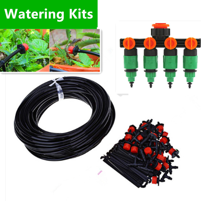 50m Garden DIY Automatic Watering Micro Drip Irrigation System Garden Self Watering Kits with Adjustable Dripper