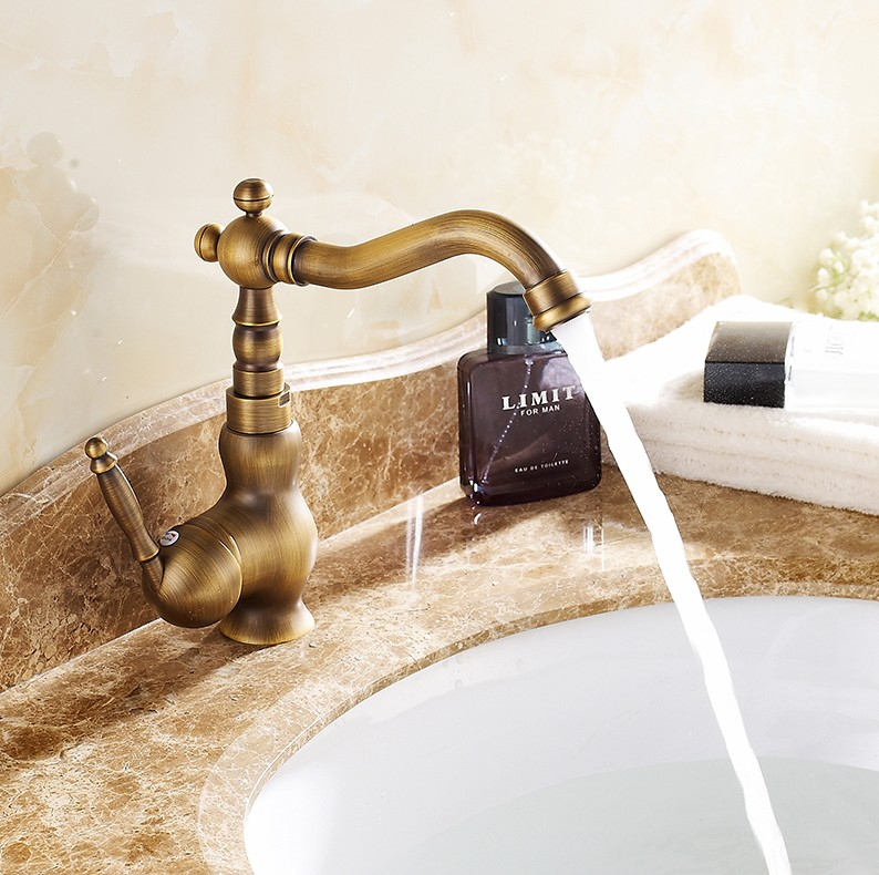 Fashion Rotating Faucets Antique Brass Bathroom water mixer Bath Mixer / vintage hot and cold wash basin Faucets/ plumbing tapFashion Rotating Faucets Antique Brass Bathroom water mixer Bath Mixer / vintage hot and cold wash basin Faucets/ plumbing tap