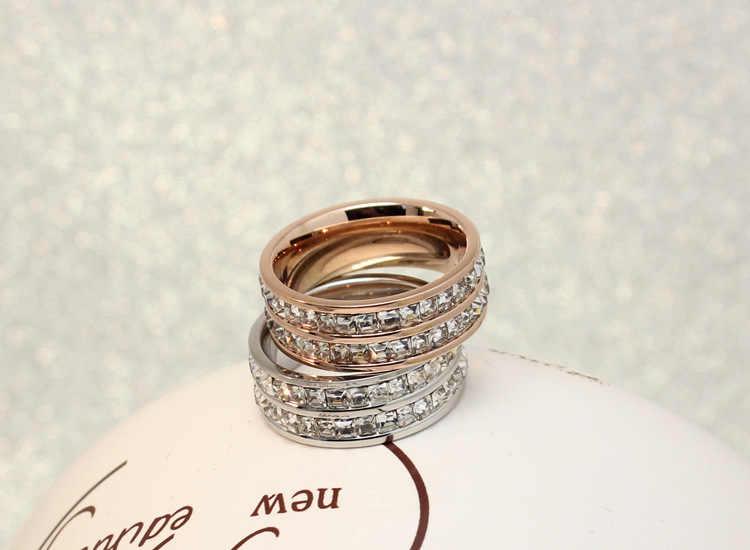 Luxus Weibliche Geometrische Kristall Zirkon Stein Ring 925 Silber & Rose Gold Ring Versprechen Hochzeit Verlobung Ringe Für Frauen