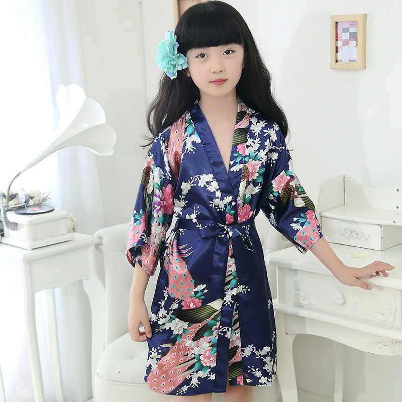 Kids kimono robes navy blue girl peacock nightgown three quarter sleeve flower girl robe for wedding children bathrobe sleepwear