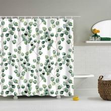 Waterproof Shower Curtain Printing Plant Pattern 12 Hooks Bathroom