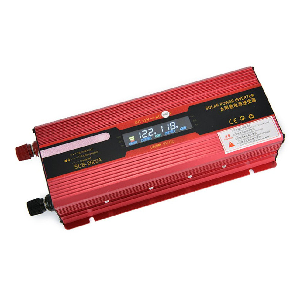 Perfessional New 2000W Solar Power Car Inverter High Frequency LCD Display 12V-110V Power Supply Outlet Power Inverter Hot Sell