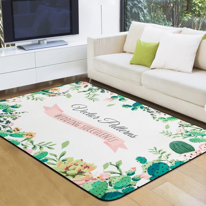 Tapis Cactus et tapis pour la maison salon tapis géométriques pour chambre Anti-glisse Table basse tapis de sol tapis de vestiaire vert