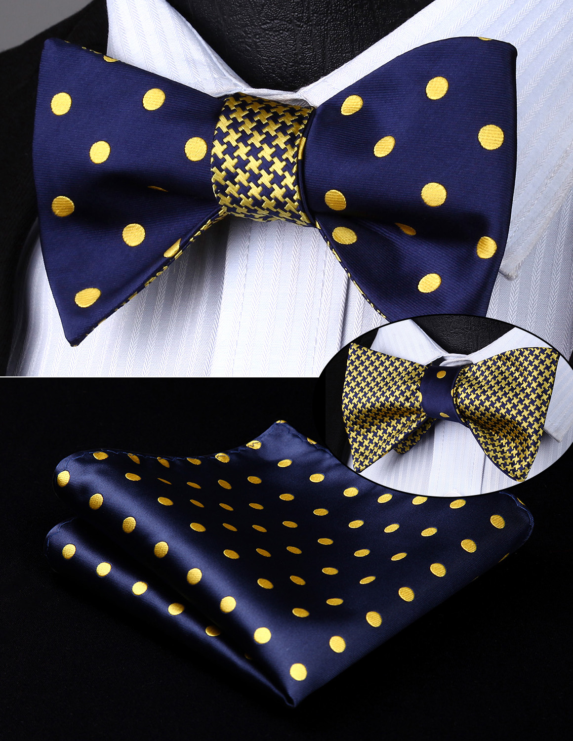 BE04YS Blue Dot Geometric Double Side Bowtie Men Silk Self Bow Tie Hanky Set Pocket Square Classic Party Wedding