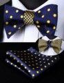 BE04YS Blue Dot Geometric Double Side Bowtie Men Silk Self Bow Tie hanky set Pocket Square Classic Party Wedding