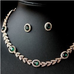 New Arrival 18k Rose Gold Plated Luxury Austrian Rhinestone Emerald Necklace Stud Earring Bride Jewellery
