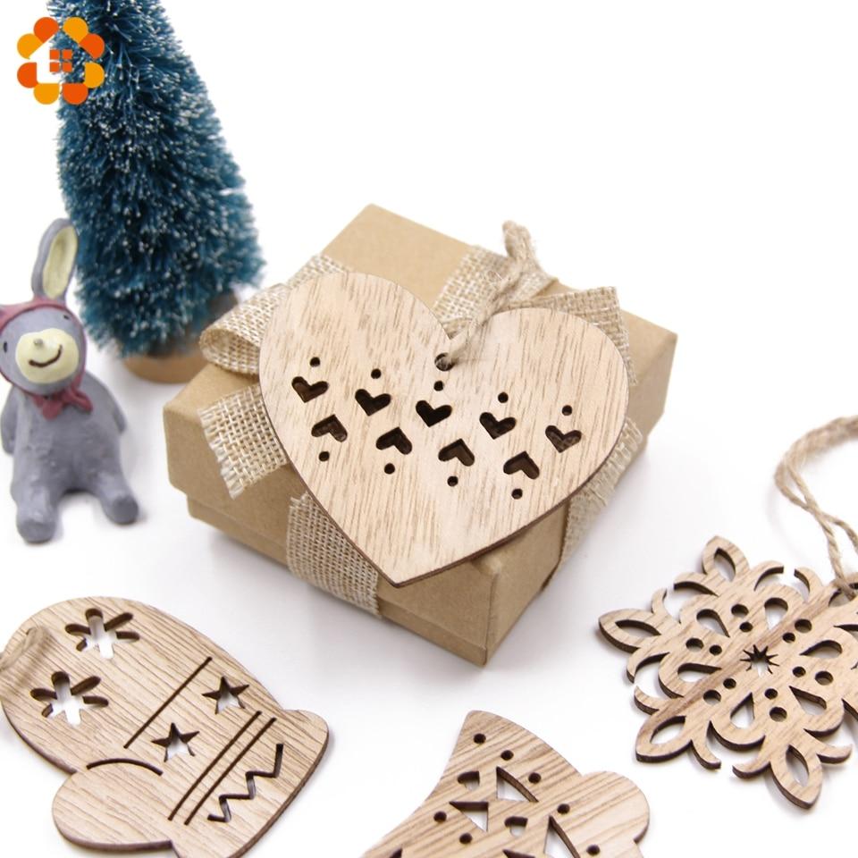 3pcs Vintage Christmas Wooden Pendants Ornaments Diy Wood Crafts