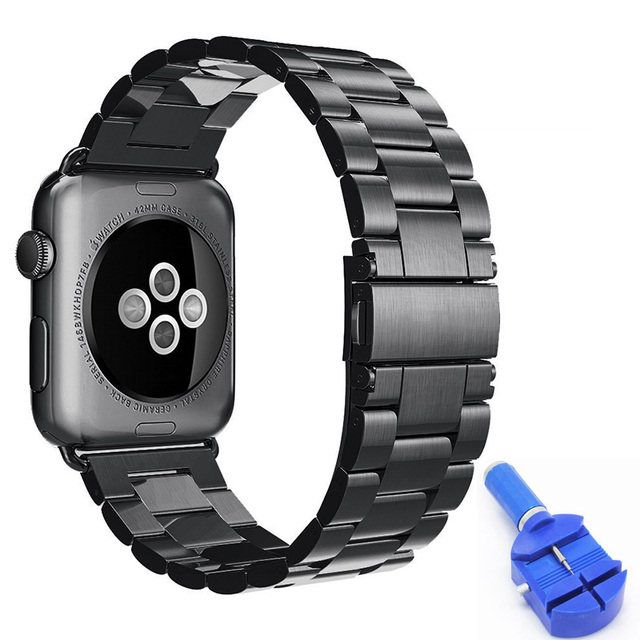 For Apple Watch Band 42mm Strap Stainless Steel Link Bracelet Accessories Adapter for iWatch Series 2 Band 38mm Black Free Tool