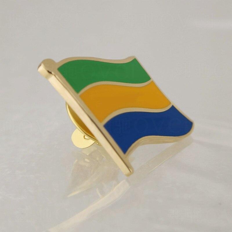 Soft Enamel Gabon Flag Lapel Pins