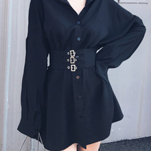 Women Lace Up Loose  Shirt Dress Mini Dresses Nightclub Stre
