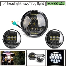 "7"" headlight for harley daymaker 7 inch 75w led headlight with DRL + 2X 4.5 Inch LED auxiliary fog light for Harley Davidson"