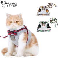 Hoopet Cat Collar Harness Leash Adjustable Nylon Soft Breathable Air Nylon Mesh Puppy Dog Pet Cat Harness and Leash Set