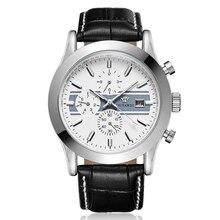 White Fresh Design Dial Men Watch Mechanical Calendar Automatic Clock Luxury Brand Genuine Leather Strap Business ManWatches Men цена