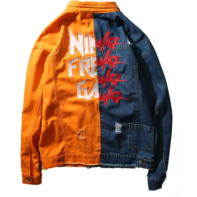 Mens Hip Hop Jeans Jacket Coat Men's Wear Unlined Denim Jacket Trucker Rugged Wear Unlined Denim Jacket Asian size M-XXL
