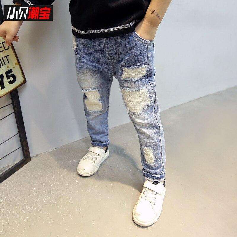 2018 Autumn Hole Kids Boys Pants Denim Trousers Casual Cotton Elastic Waist Pencil Pants Boys Leggings