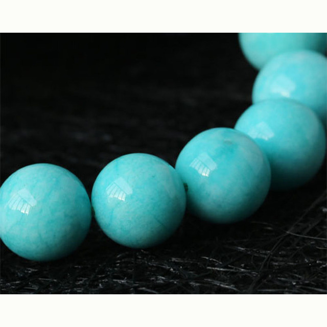 Discount Wholesale High Quality Genuine Natural Peru Blue Amazonite Stretch Finished Beaded Men's Bracelet Round Loose13mm 03251