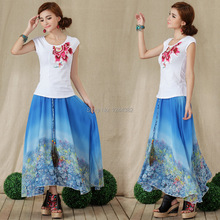 Boshow European Style Chiffon High Waist Dress with Printed Peacock Pattern Multiple Sizes