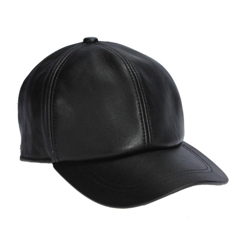 Prix pour En peau de mouton de haute qualité chapeau véritable hiver en cuir chapeaux casquette de Baseball réglable pour les hommes noirs Caps livraison gratuite