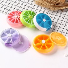 round pill box 7 days plastic storage rotating portable small medicine 9*2.5cm Plastic