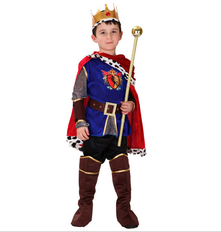 Hot Sale Handsome Arab King Cosplay Costume For Children Boy Halloween Party Preformance Fancy Dress With Red Cape For Kids