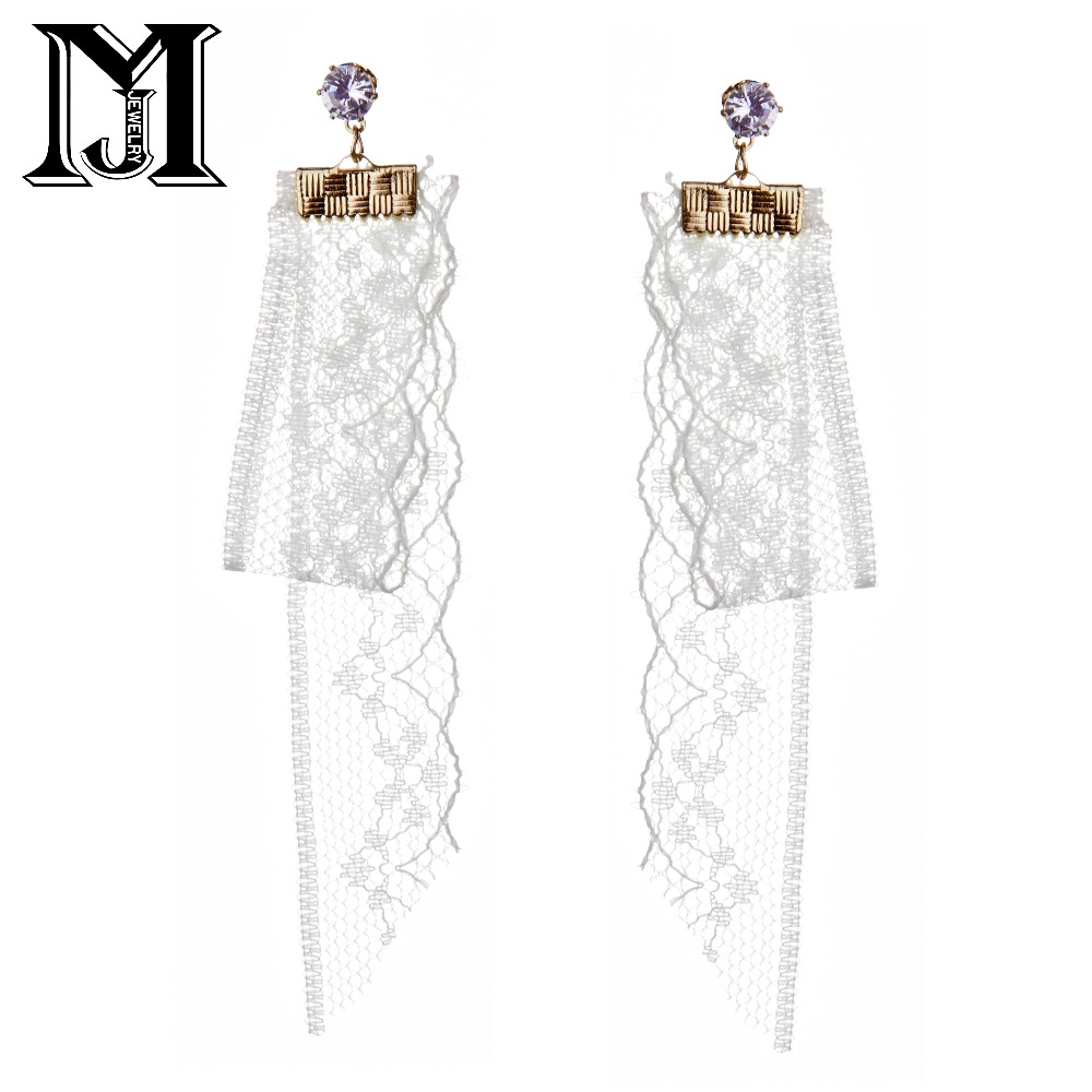 JiaMu Fashion Popular stud long white lace natural Zircon tassel earrings for honorable women party wedding jewelery delicate