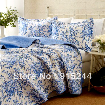 LAURA ASHELY quality water wash cotton quilting 3pcs <font><b>bed</b></font> sets king size white blue leaves <font><b>bed</b></font> quilts cover <font><b>bed</b></font> sheets bedspread