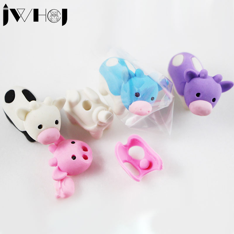 2 Pcs/lot  Creative Cartoon Milk Cow Eraser Kawaii Stationery Office School Correction Supplies Papelaria Child's Toy Gifts