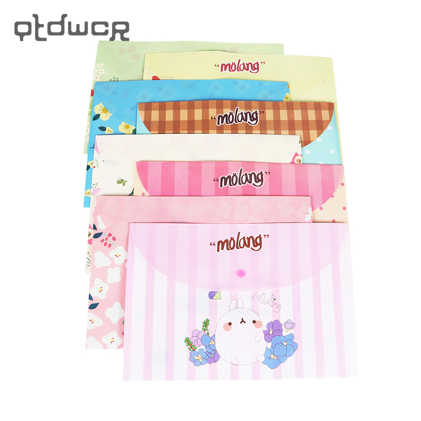 1PC Cute Cartoon  Rabbit Floral Series Plastic A4 Filing Products File Folder Storage Stationery School Office Supplies