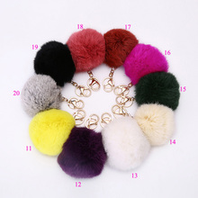 20 Colors keychain10cm rabbit fur ball keychain fur key chain Keyrings fur pom pom keychain fur pompom key chains jewelry gift
