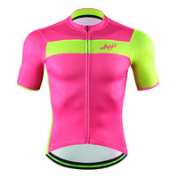 CHEJI Men Cycling Clothing Short Sleeves Bike Jersey Pink and Green Summer Breathable Bicycle Tops Wholesale Custom