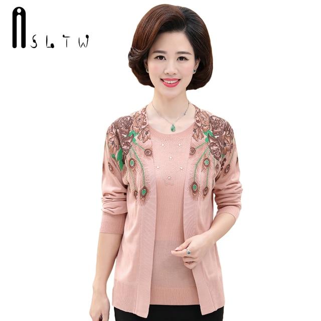 Asltw Real Two Piece Sweater Set 2018 Fashion Autumn Women O Neck