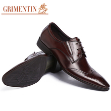 GRIMENTIN luxury mens shoes casual genuine leather black brown oxford basic flats for men wedding shoes men dress shoes