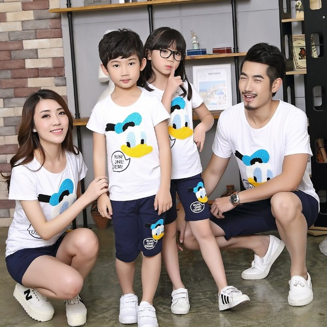 11bce2913 Donald summer family set matching mother and daughter clothes father son  outfit kids boys T shirts shorts sport sets mom and me