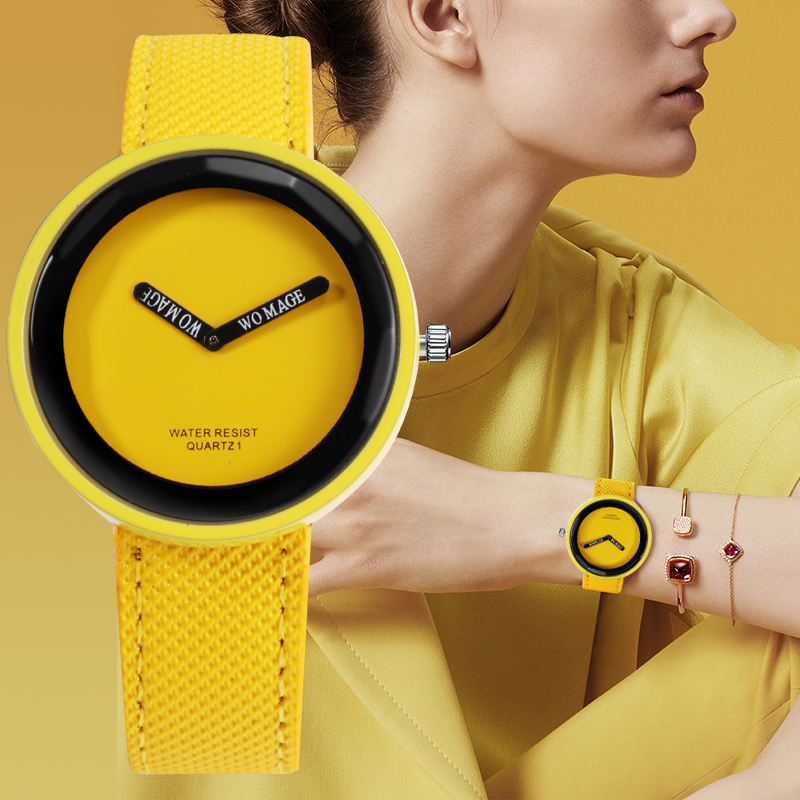 WoMaGe Women's Fashion Colorful Clock Watch 10 Color Ladies Watches Leather Strap Brand Wristwatch For Female Relogio Feminino