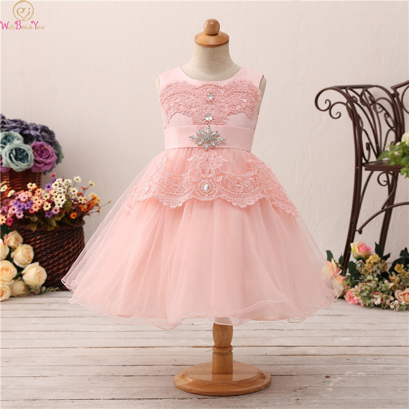 Pink Tea Length Ball Gown   Flower     Girls     Dresses   For Wedding Fluffy Appliques With Beauty Bow Back First Communion vestido Gowns