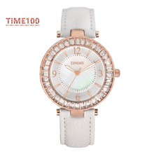 Fashion Original Women's Quartz Watches White Leather Strap Diamond Shell Big Dial Waterproof Ladies Brand Watch W030