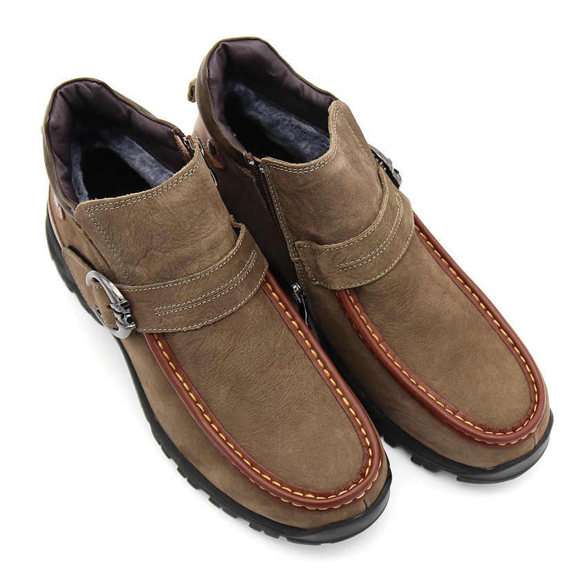 BIMUDUIYU marka kış sıcak hakiki deri erkek kar botları moda yarım çizmeler peluş kürklü yürüyüş ayakkabı rahat kayma direnci