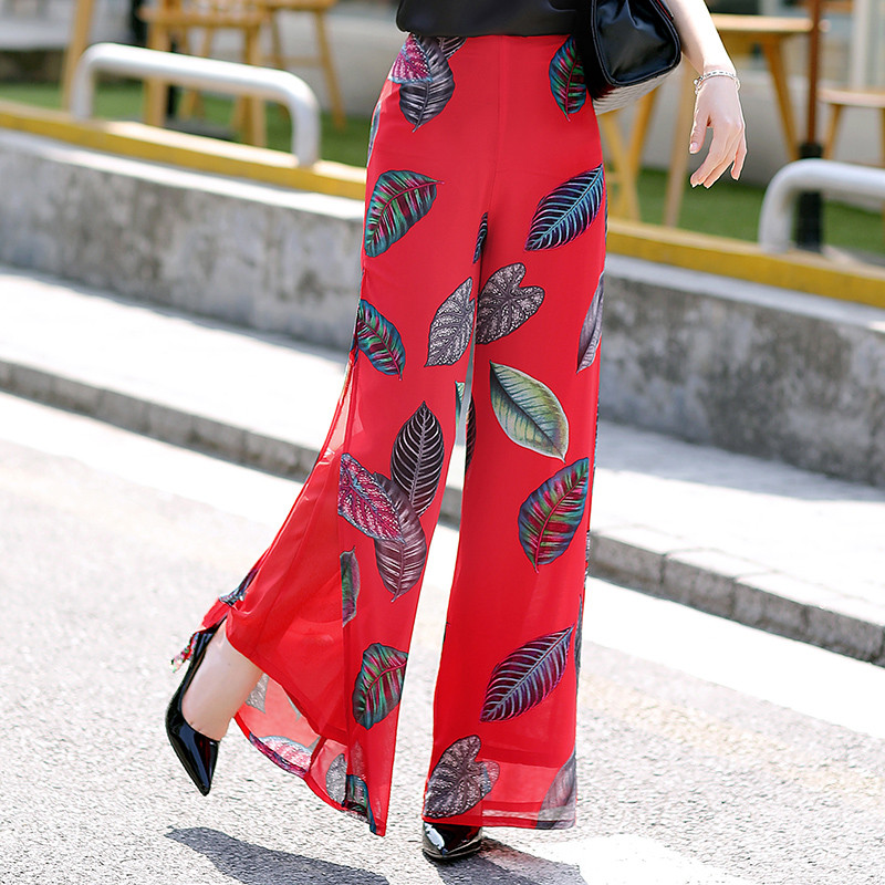 Womens Summer Wide Leg Long Trousers Casual Vintage High Waist Chiffon Side Split Loose Bohemia Skirt   Pants     Capris   Plus Size 4XL