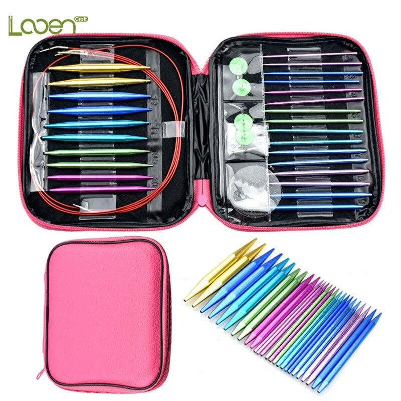 Looen Brand 26pcs/set Aluminum Change Head Detachable Circular Knitting Needle Ring Set DIY Tools For Home Sewing Needle Crafts