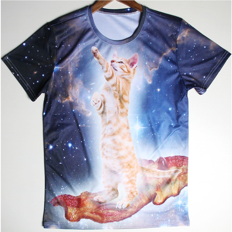 Fashionable Brand Clothes Cat Galaxy Men T Shirts Funny Cartoon