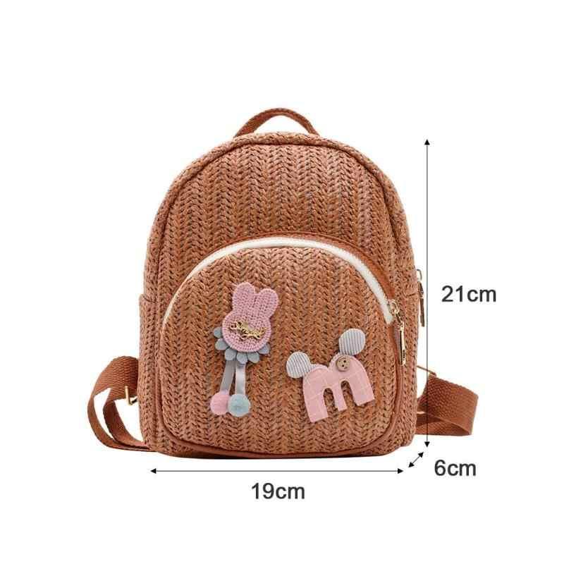 Модные повседневные милые рюкзаки с мультяшным декором 2019 летние женские соломенные рюкзаки на плечо школьные и дорожные сумки для девочек рюкзак mochila