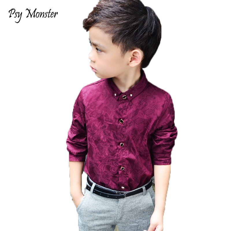 Boys   Blouses   Dress   Shirts   boys long sleeve Children   Shirt   Baby Kids Wedding Clothes Boys Formal Dress   Shirts   Boys Tops
