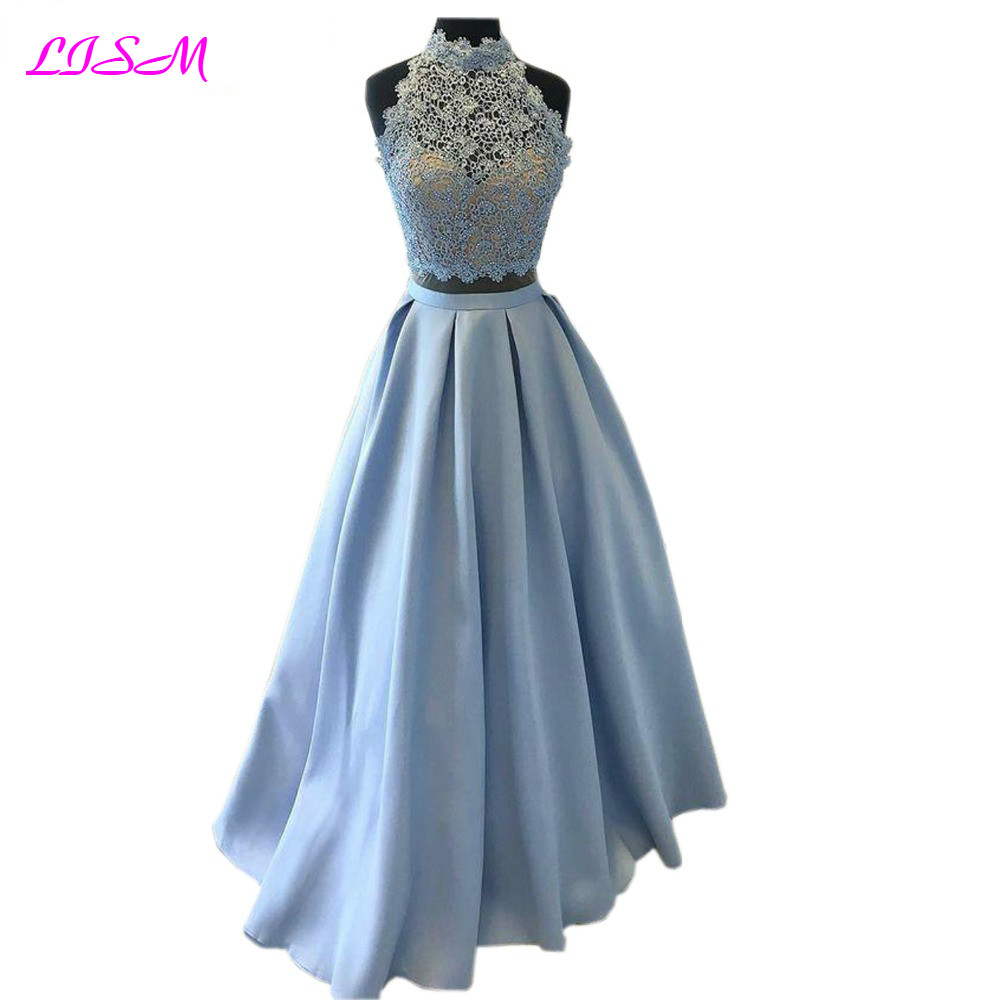 Fashion Light Blue Two Pieces   Prom     Dresses   A Line Halter Appliques Satin Evening Gowns Sexy Formal   Dresses   Long Robe de Soiree