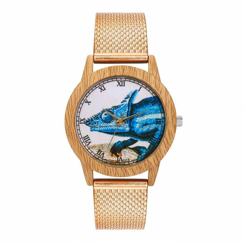 Reloj de madera de lujo de imitación de madera para mujer reloj de acero inoxidable Reloj Simple para mujer
