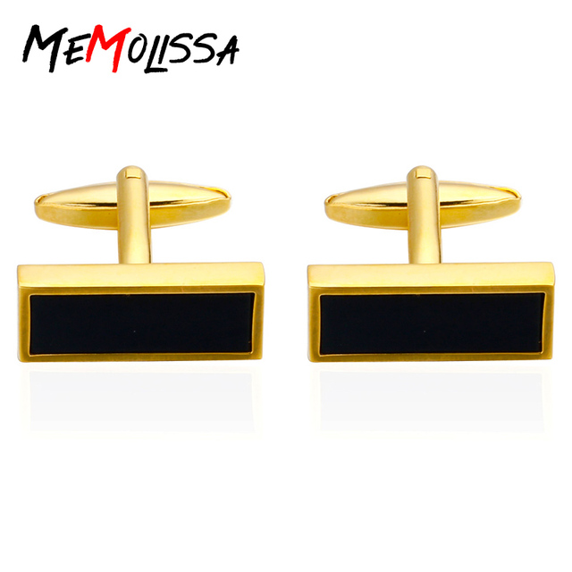 b39640f352bc Fashion Gold Color Square Shirt Cufflinks for Men's Gifts Brand Cuff Buttons  Black Cuff Links High