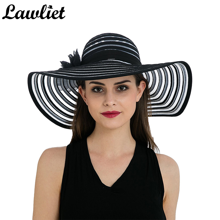 Lawliet Chapeau Sommerhatte til kvinder Wide Birm Striped Hats Dame Floppy Kentucky Derby Beach Hatte Flower Sun Beach Cap T238