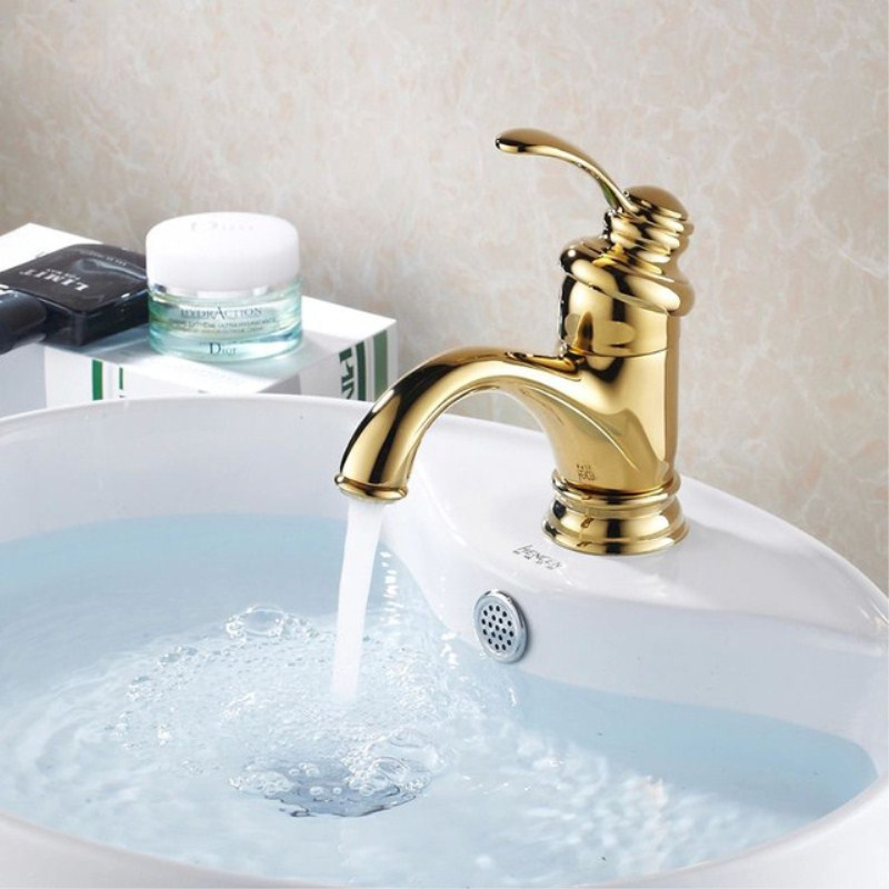 OWOFAN Basin Faucets Golden Modern Deck Mounted Bathroom Sink Faucet Washbasin Single Handle Hot and Cold Water Taps HJ-6636K ...