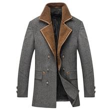 2016 зима мужская мода досуга мужская толщиной 50% шерсти пальто шерстяное пальто мужчины двойной грудью пальто куртки ветровка