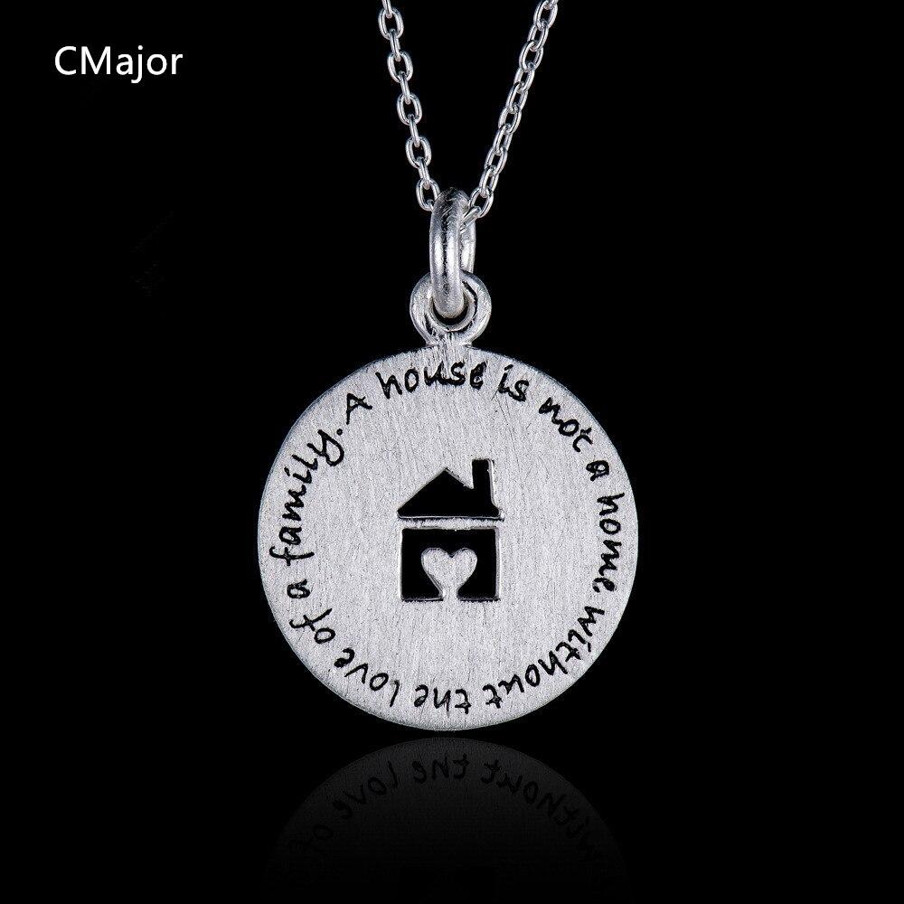 CMajor 925 bijoux en argent sterling amour maison famille lettres maison photo chaîne pendentif colliers